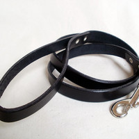 """Leather dog leash, 5/8"""" wide, black, brown or tan, 42"""" long"""