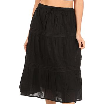 Sakkas Tahira Cascading Broomstick Midi Skirt with Crochet lace and Elastic Waist