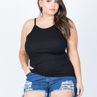 Plus Size Ribbed Lines Tank