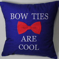 Bow Ties are Cool Dr Who inspired Embroidered Pillow Case Cover