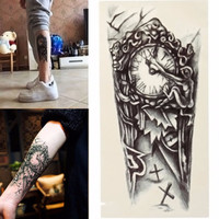 Black 3D Sexy Fake Transfer Tattoo Chest Clock Tatoos For Men Temporary Large Mechanical Arm Tattoo Sticker Women