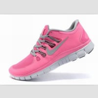 NIKE running breathable casual shock Damping running shoes Pink gray