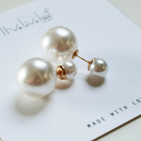 White double pearl earrings, Faux Pearl tribal earrings trendy fashion stud earings double faced bauble statement celebrity style jewelry