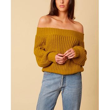 Cotton Candy LA - Off-Shoulders Knit Bishop Sleeves Sweater in Moss