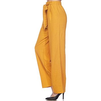 High Waisted Wide Leg Linen Palazzo Pants