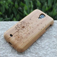 Dandelion-Wooden Case Cover for Samsung Galaxy S4 case- samsung i9500 Case , Samsung Galaxy wooden case,bamboo case for Galaxy S4 i9500
