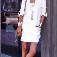 Casual Deep V-Neck Criss Cross Strap Half Sleeve Mini Dress