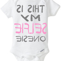 """Funny Onesuit baby girl gift idea: """"This is my SELFIE Onesuit"""" new baby / new parent / baby shower gift / pink & Gray / Preemie Available"""