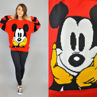vintage 80s MICKEY MOUSE novelty oversized striped bold classic DISNEY sweater, extra small-large