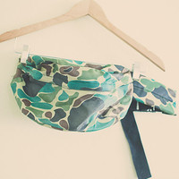 Vintage 80's Fanny Pack Olive Green Hunting Camoflauge Camo  Fannypack BumBag Rave Wear Festival Wear Large Size
