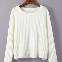 White Ribbed Knitted Jumper
