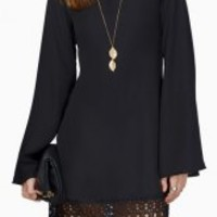 Simple Scoop Neck Long Sleeve Laciness Solid Color Shift Dress For Women