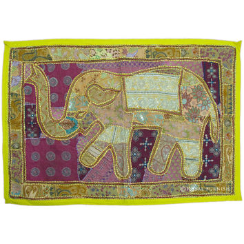 Yellow Indian Vintage Multi Patchwork Elephant Tapestry Wall Hanging