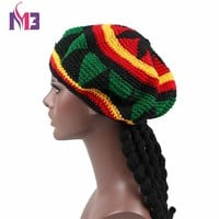 New Casual Men Women Rasta Hat Fancy Dress Party Hippie Handmade Beret Dreadlocks Wig Jamaican Bob Marley Knit Reggae Hat