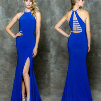 Glow G2650 Halter Neck Strappy Back Jersey Prom Evening Dress