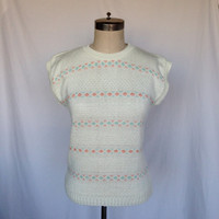 CUTE 1970s Vintage Textured Floral Retro Sweater by Cuddle Knit