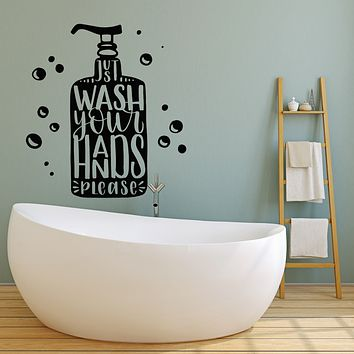 Vinyl Wall Decal Bathroom Art Wash Your Hands Hygiene Words  Stickers Mural (g3395)