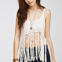 Fringed Crochet Crop Top
