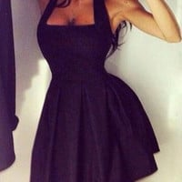 Black Halter Pleated Dress
