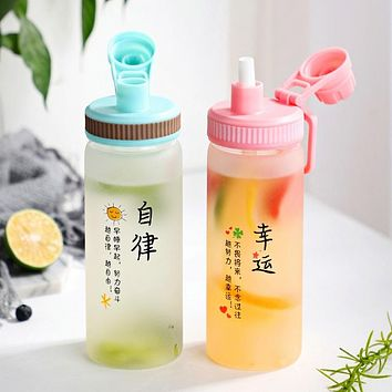 Ins Wind Girl Heart Bursting Straw Glass Cute Korean Sports Portable Glass Water Cup