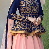 Buy Blue N Peach Art Silk Umbrella Lehenga, umbrella-lehenga Online Shopping, GHSVNT26