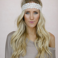Crochet Lace Headband, Fashion Hairband, Cute Hair Accessories, Stretchy Lace Head Wrap,  Filigree in Soft Pink (HB-3704)