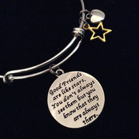 Good Friends Always There Expandable Silver Charm Bracelet Adjustable Bangle Trendy Gift BFF