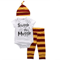 Baby Boys ( Snuggle this Muggle ) 3 Piece Set. Romper/Onesuit Hat and Pants
