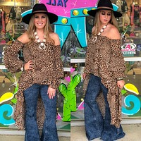 Leopard off the shoulder high low top