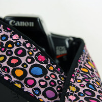 Spots dSLR Camera Strap, Polka Dot, Leopard print, Lilac, Blue, Pink, Orange, 173 w