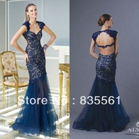2014 Mermaid Lace Prom Dresses Sexy Nude Bodice Sheer Tulle Court Train Cap Sleeves Women Formal Pageant Evening Gowns Backless
