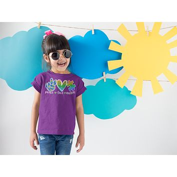 Kids Peace Love Autism Shirt Cute Autism T Shirt Awareness Tee Puzzle Piece Shirt Support Autism Awareness Shirt Boy's Girl's