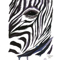 Watercolor Illustration Print-Zebra Stripes