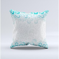 Teal Blue & White Swirl Pattern  Ink-Fuzed Decorative Throw Pillow