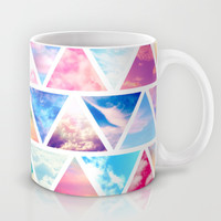 Pink Clouds Teal Sky Abstract Triangles Pattern Mug by Girly Road