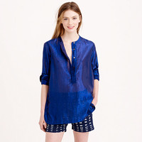COLLARLESS POPOVER IN METALLIC VOILE