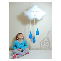 CLOUD & RAINDROPS MOBILE White Rain Cloud with Turquoise / Bright Blue Rain Drops - baby shower Baby Nursery Kids Bedroom Home Decor