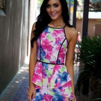 Floral Playsuit with Sheer Mesh Back and High Neck