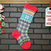 Plaid Christmas Stocking, Hand Knit with Bright Pink Cuff, and White Snowflake, can be personalized, Wedding Gift, Shower Gift, Housewarming