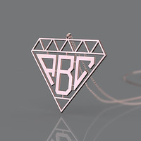 Rose gold plated monogram necklace 1 inch or 1.25 inch/1.5 inch customized jewelry necklace