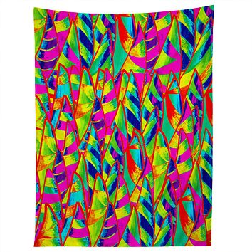 Renie Britenbucher Abstract Sailboats Neon Tapestry