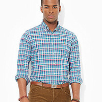 Polo Ralph Lauren Classic-Fit Plaid Oxford Shirt - Turquoise/White