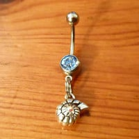 Belly Button Ring - Nautilus Shell Belly Button Ring