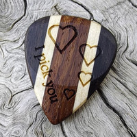 Handmade Premium Multi-Wood Guitar Pick - Laser Engraved - Actual Pick Shown - No Stock Photos