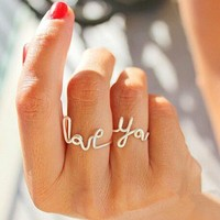 98524 LOVE letters YOU heart-shaped ring by CHIQ CLUB