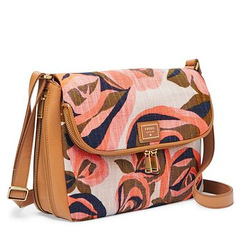Fossil Leather Floral Flap Crossbody Bag