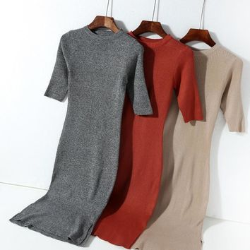 women clothes fall vogue elegant Knitted drees cotton vitage long sleeve o-neck half sleeve ladies long dresses robe femme