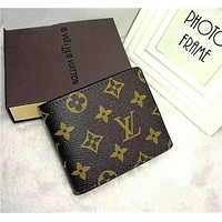 """Louis Vutitton"" Retro Classic Letter Logo Purse Short Section Fold Wallet"