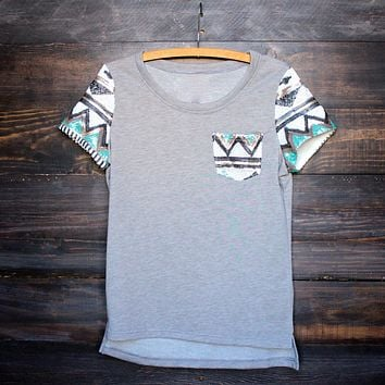 Final Sale - It Girl Aztec Sequin Pocket Short Sleeves French Terry T-Shirt in Grey