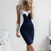 Blue and purple stitching sexy tight halter strap dress
